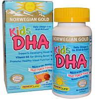 Renew Life, Норвежское золото, ДГК для детей, фруктовый вкус, 60 жевательных мягких капсул