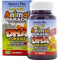 Natures Plus, Источник жизни, DHA для детей, детские жевательные конфеты Шествие животных, с натуральным вишневым вкусом, 90 штук