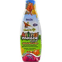 Natures Plus, Источник жизни, жидкие мультивитамины для детей от Animal Parade, натуральный вкус тропических ягод, 30 жидких унций (887.10 мл)