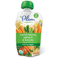 Plum Organics, Organic Baby Food, Stage 2, Hearty Veggie, Carrot, Beans, Spinach & Tomato, 3.5 oz (99 g)