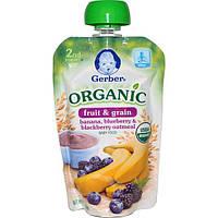 Gerber, Детское питание, натуральные фрукты и зерна, овсянка с бананами, черникой и голубикой, второе блюдо, 3.5 унции (99 г)