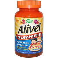 Natures Way, Alive! Жевательные конфеты, мультивитамины для детей, вишня, виноград и апельсин, 90 жевательных конфет