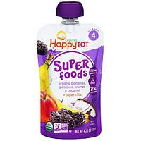 Nurture Inc. (Happy Baby), HappyTot, органический супер-фуд, бананы, персики, чернослив и кокос + суперчиа, 4,22 oz (120 г)