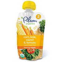 Plum Organics, Органическое детское питание, питательные овощи, этап 2, кукуруза, капуста, морковь и томат, 3,5 унции (99 г)