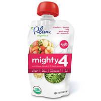 Plum Organics, Mighty 4, для детей, питательная смесь 4 групп продуктов, клубника, банан, капуста, греческий йогурт, овес и амарант, 4 унции (113 г)