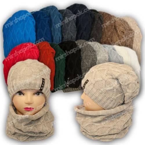 Комплект шапка и шарф (хомут) для девочки, р. 50-54, подкладка флис, 7020