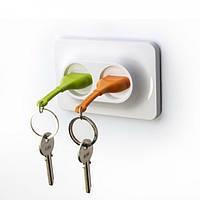 Ключница настенная и брелки для ключей Double Unplug Qualy (зеленый/оранжевый/белый)