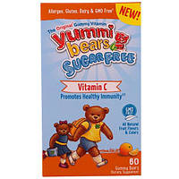 Hero Nutritional Products, Yummi Bears, Sugar Free, Vitamin C, All Natural Fruit Flavors & Colors, 60 Gummy Bears