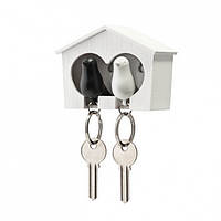 Ключница настенная и брелки для ключей Duo Sparrow Qualy (черный-белый)