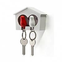 Ключница настенная и брелки для ключей Duo Sparrow Qualy (белый-красный)