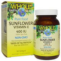 Natural Factors, Пищевая добавка Непочатое море и земля, подсолнечник, витамин Е, 400 МЕ, 90 желатиновых капсул