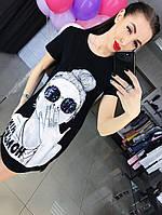 """Женское, летнее, модное, трикотажное платье-туника с накаткой-принтом и пайетками """"Девушка""""  РАЗНЫЕ ЦВЕТА"""