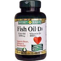 Natures Bounty, Рыбий жир + D3 90 гелевых капсул