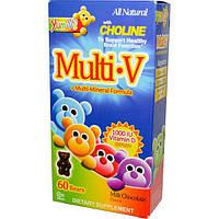 Yum-Vs, МультиV + мульти-минеральная формула, вкус молочного шоколада, 60 желатиновых мишек