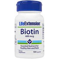 Life Extension, Биотин, 600 мкг, 100 капсул