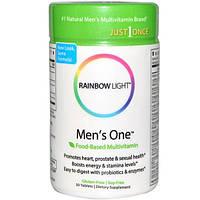 Rainbow Light, Только один раз, Mens One, поливитамин на пищевой основе, 30 таблеток