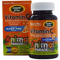 Natures Plus, Source of Life, Animal Planet, витамин C, не содержит сахара, с ароматом апельсинового сока, 90 животных