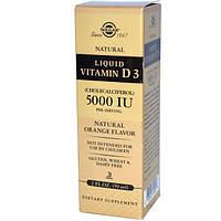 Solgar, Жидкий витамин D3, 5000 международных единиц в 1 порции, с натуральным апельсиновым вкусом, 2 жидких унции (59 мл)
