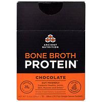 Ancient Nutrition, Белок костного бульона, белковый порошок с шоколадным вкусом, 15 порционных пакетов по 0,89 унции (25,17 г)