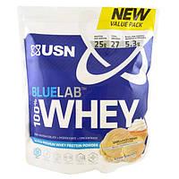 USN, BlueLab, 100% сывороточный протеин, ванильное мороженное, 2 фунта (918 г)