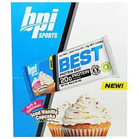 BPI Sports, Лучший протеиновый батончик, замороженный ванильный кекс, 12 батончиков, 2.29 унции(65 г) каждый