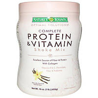 Natures Bounty, Optimal Solutions, коктейль с полноценным набором протеинов и витаминов, со вкусом ванильных бобов, 453 г