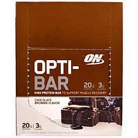 Optimum Nutrition, Батончик с высоким содержанием белка Opti-Bar, шоколадное брауни, 12 батончиков, 2,1 унции (60 г) каждый