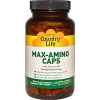 Country Life, Max-Amino в капсулах, с витамином B6, 180 вегетарианских капсул