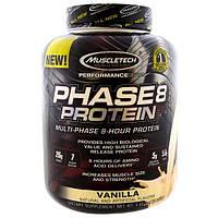 Muscletech, Серия Performance, Phase8, мультифазный протеин 8 часов, ваниль, 4,60 фунтов (2,09 кг)