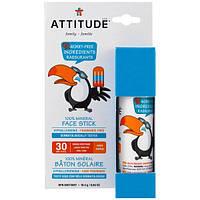 ATTITUDE, Family, 100% Mineral Face Stick, SPF 30, Fragrance Free, 0.65 oz (18.4 g)