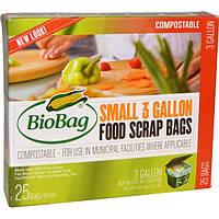 Biobag, Пакеты для пищевых отходов, маленькие, 25 пакетов, 3 галлона, 16,9 дюйма x 17,7 дюйма x 0,64 мил (43 см x 45 см x 16 мкм)