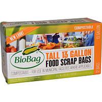 Biobag, Высокие пакеты для пищевых отходов на 13 галлонов, 12 пакетов, 22,2 дюйма x 29,0 дюйма x 0,68 мил