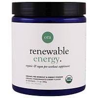 Ora, Возобновляемая энергия, органический энергетический порошок для применения перед тренировкой, гранат и ягоды, 7.1 унций (200 г)