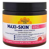 Country Life, Maxi-Skin, Vitality с витамином B12, аромат ягод, порошок, 4.3 унции (123 г)