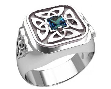 Кольцо серебряное Триглав с камнем 30379