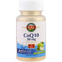 KAL, Коэнзим Q10, ActivMelt, зеленое яблоко, 30 мг, 90 микротаблеток