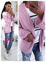 Кардиган женский плотный с карманами короткий вязанный (4 цвета)  джинс