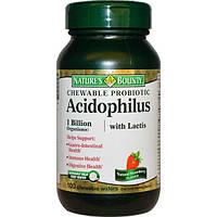 Natures Bounty, Жевательный пробиотический ацидофилин с лактобактериями, натуральный вкус клубники, 100 жевательных пластинок