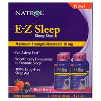 Natrol, E-Z Sleep, Sleep Shot, Maximum Strength Melatonin, Mixed Berry, 4 Pack, 1.9 oz (56 ml)