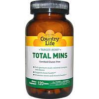 Country Life, Target-Mins, Total Mins, мультиминеральный комплекс с бором, 120 таблеток
