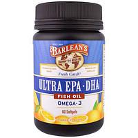 Barleans, Рыбий жир Fresh Catch, Ультра EPADHA, апельсиновый аромат, 60 капсул