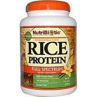 NutriBiotic, Веганский рисовый белок, полный спектр, со вкусом натуральной ванили, 1 фунт и 4 унции (570 г)