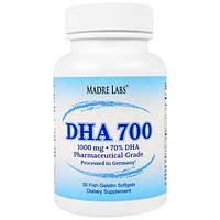Madre Labs, DHA 700, сверхконцентрированный рыбий жир фармацевтического класса, не содержит ГМО, не содержит глютена, 1000 мг, 30 капсул из рыбьего