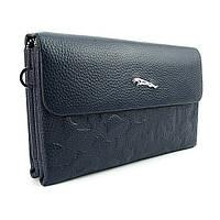 Клатч мужской Jaguar кожаный синий деловой с клапаном, фото 1