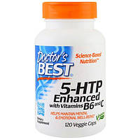 Doctors Best, 5-HTP, усиленный витаминами B6 и C, 120 растительных капсул