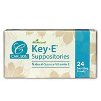 Carlson Labs, Суппозитории KeyE, натуральный витамин Е, 24 успокаивающих суппозитория