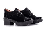 Туфли женские замшевые на удобном каблуке черные