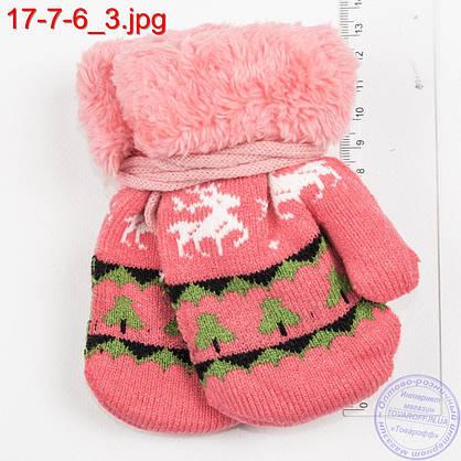 Оптом вязаные варежки для девочек и мальчиков 1, 2, 3 года  с оленями - №17-7-6, фото 3