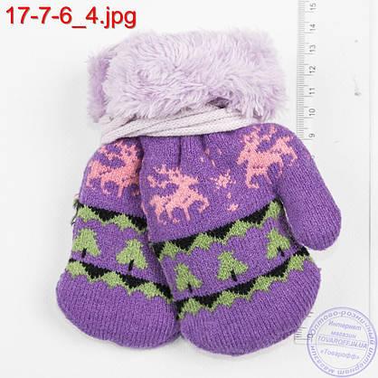 Оптом вязаные варежки для девочек и мальчиков 1, 2, 3 года  с оленями - №17-7-6, фото 2