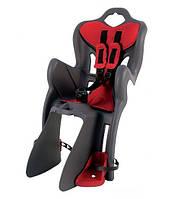 Детское велокресло заднее Bellelli B1 Сlamp (на багажник) до 22кг, серое с красной подкладкой SAD-25-48